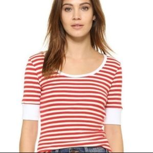 FRAME Striped Tee Shirt Red White Small